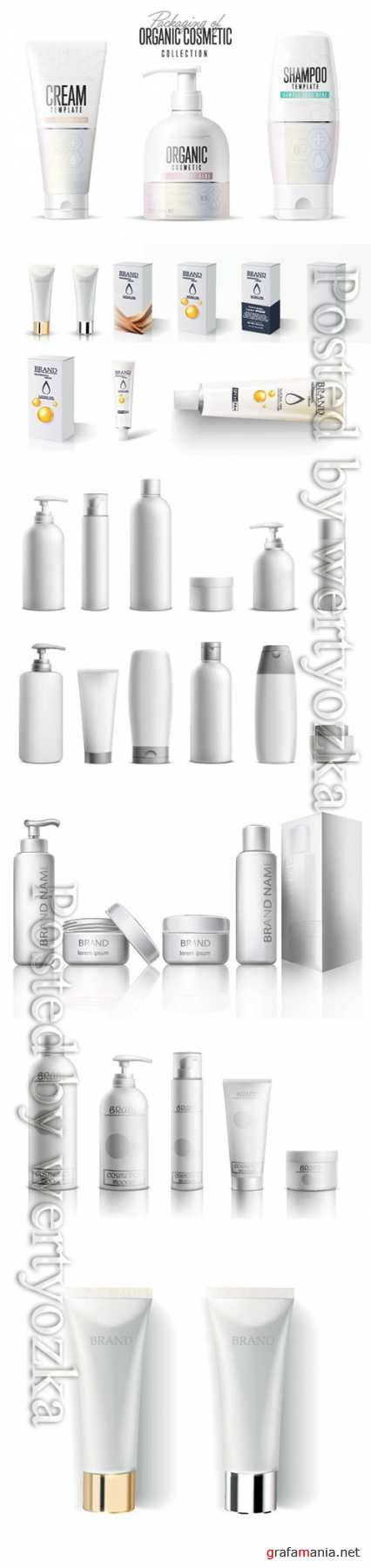Cosmetic package mockup vector set, beauty product bottles