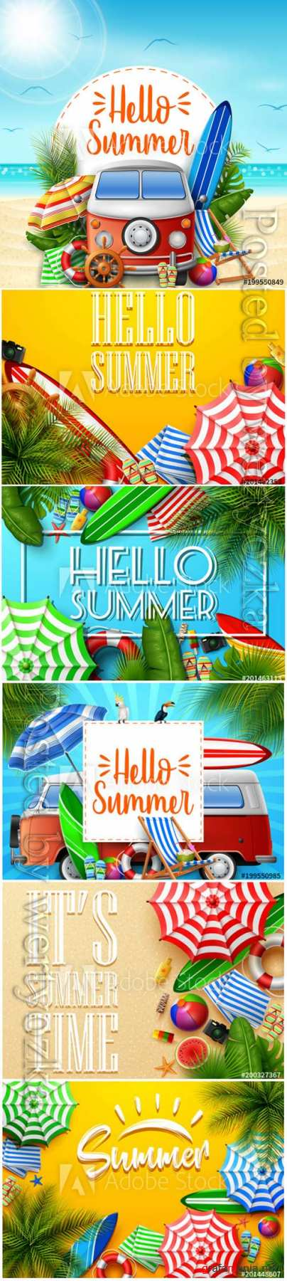 Hello summer vector banner, tropical leaves and beach element collections