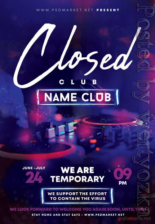 Closed club - Premium flyer psd template