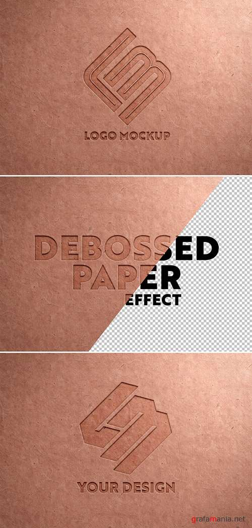 Debossed Logo on Recycled Paper Texture Mockup 341751973