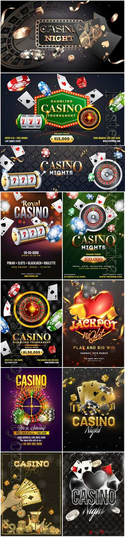 Advertising poster design, Casino Night text with casino chips, coins and playing cards illustration