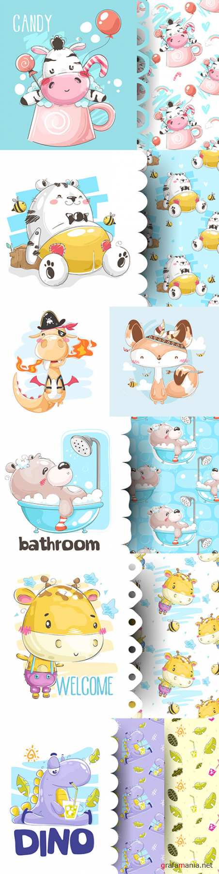 Cute cartoon animals and seamless background 18