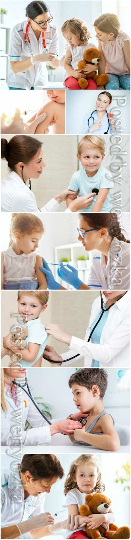 Children's doctor and children stock photo