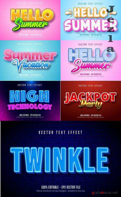 Editable font effect text collection illustration design 107