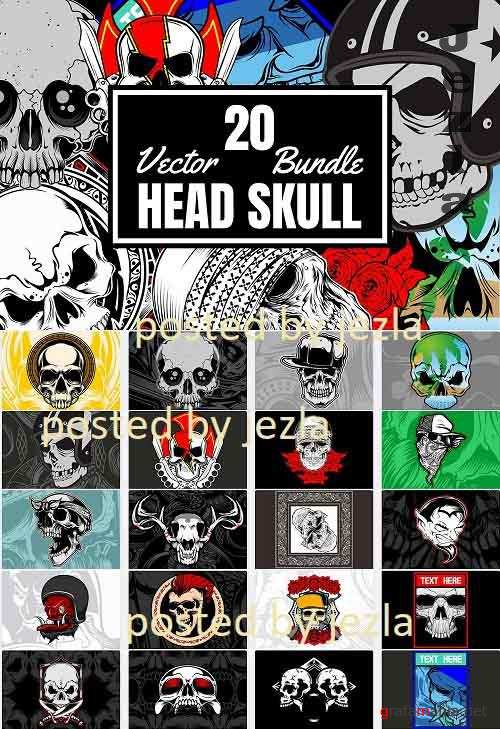 20 Head Skull Bundle - 20 Premium Graphics