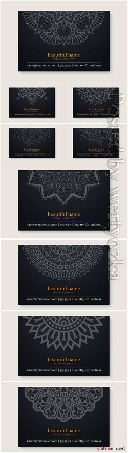 Business vector card template with ethnic mandala design