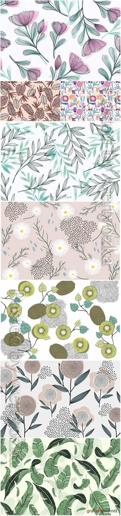 Seamless floral vector backgrounds