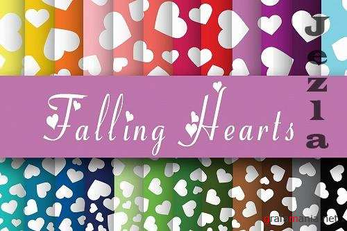 Falling Hearts Digital Paper - 37291