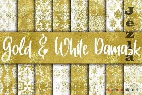 Grungy Gold and White Damask Digital Paper  - 571232