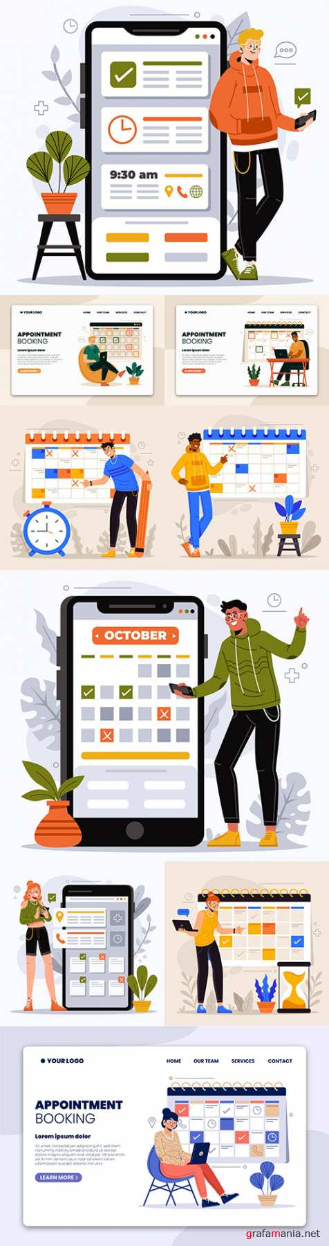 People booking an appointment entry with calendar concept