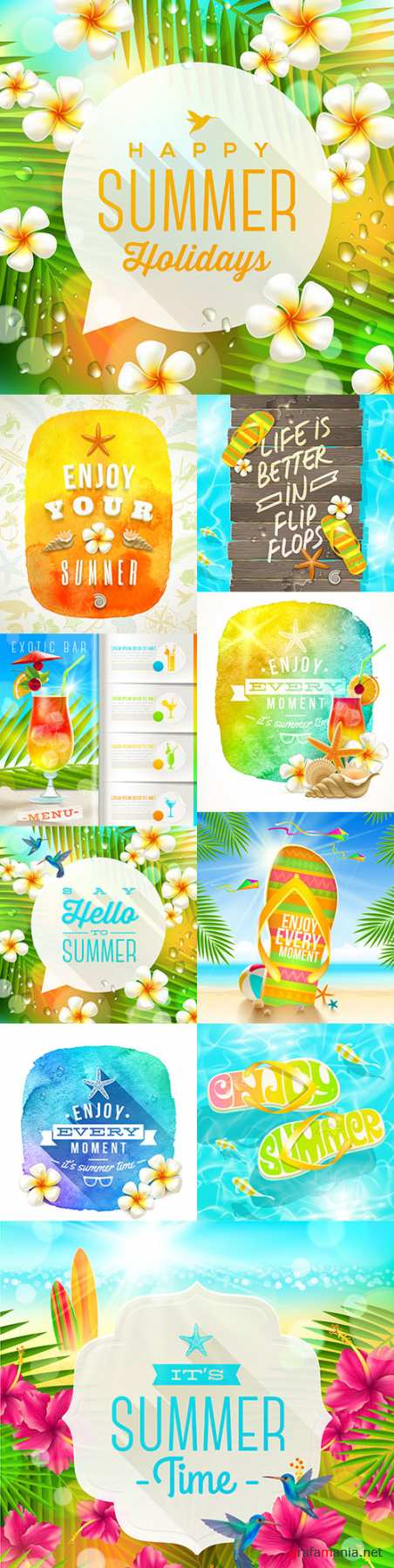 Summer greeting time jasmine tropical flowers watercolour banner