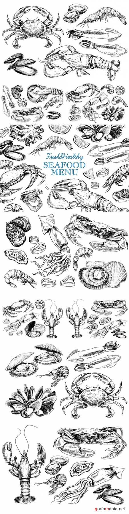Vintage seafood menu in illustration sketch style