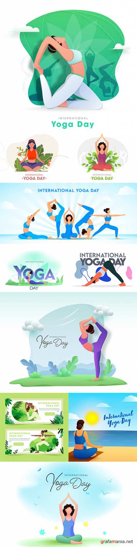Yoga International day and meditation design illustration 6