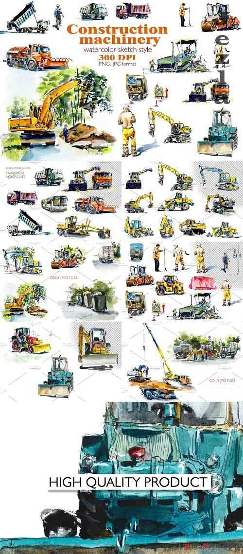 Watercolor сonstruction machines - 4380263