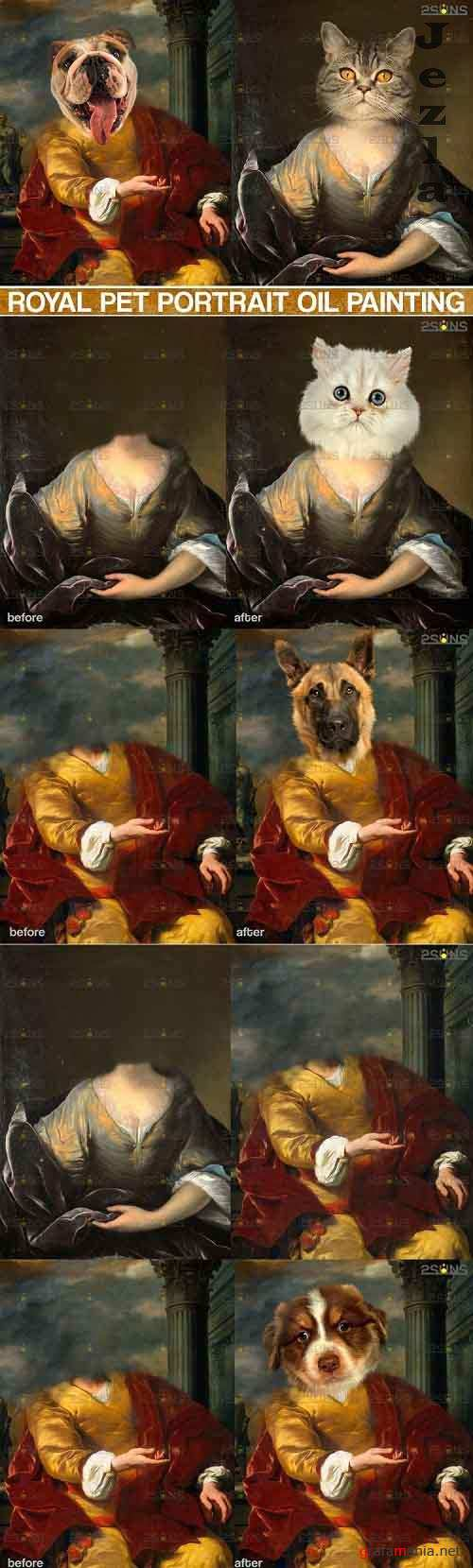 Royal Pet Portrait templates, Pet Painting Oil Photoshop v.3  - 617027