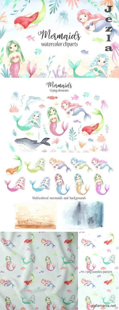 Watercolor Mermaids. Kids Cliparts - 5005688