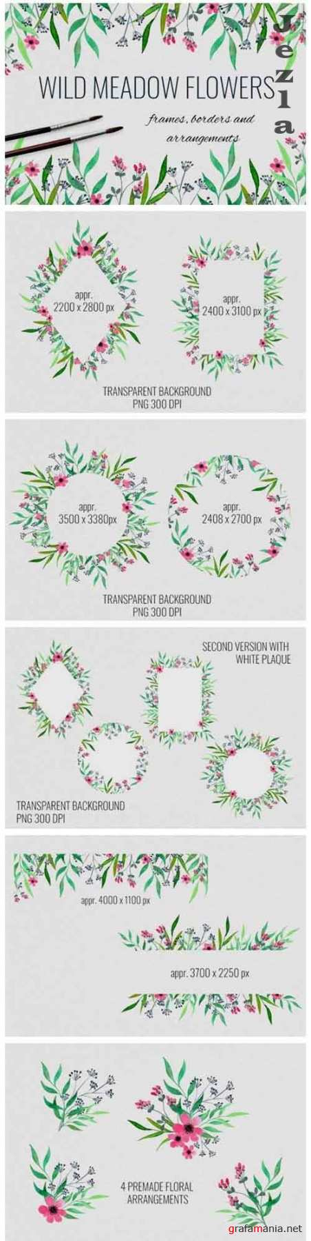 Wild meadow flowers frames, borders and arrangements - 644392