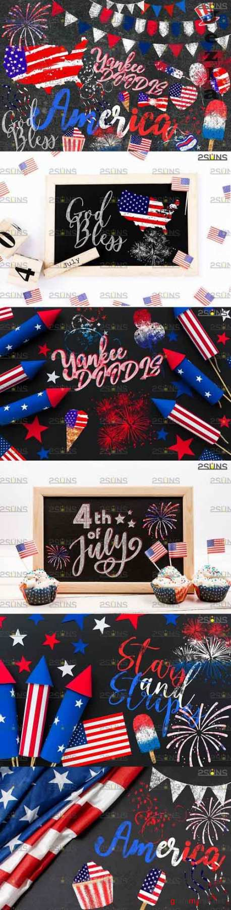 Chalk art overlay 4th of July, Photoshop overlay - 617062