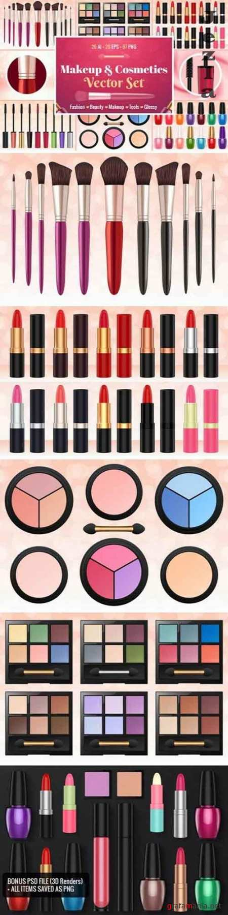 Makeup & Cosmetics Vector Set - 1783247