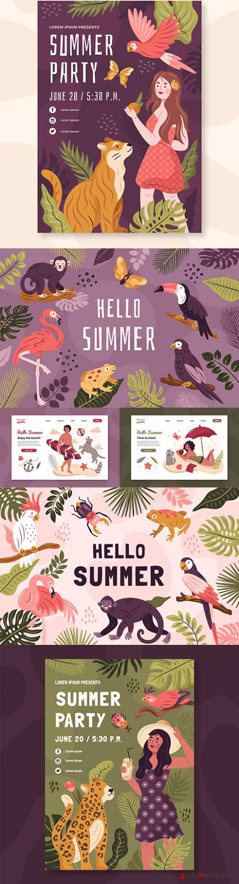 Summer party and tropical animals hand-drawn poster