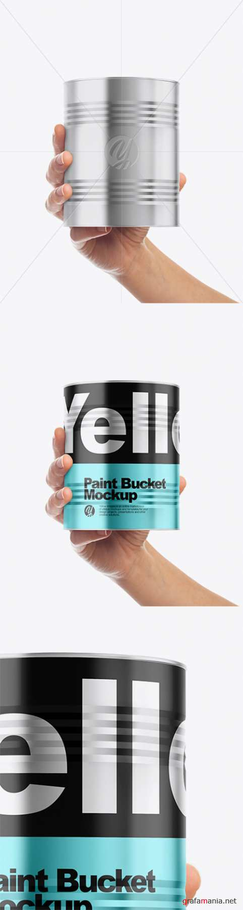 Metallic Paint Bucket in Hand Mockup - Front View 60761
