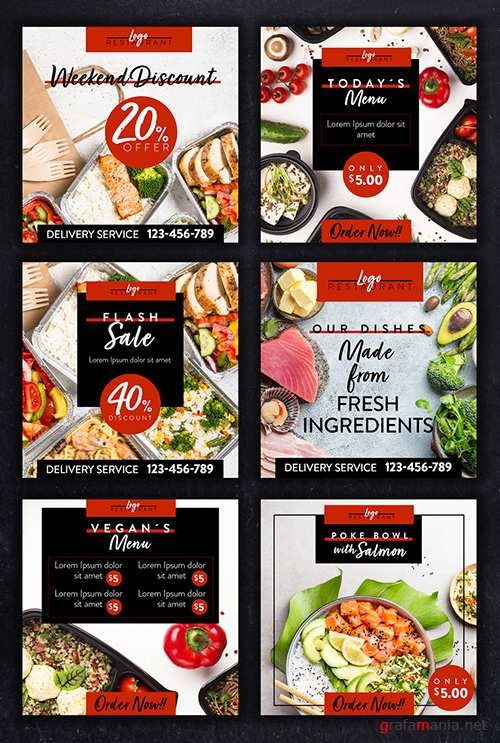 Restaurant Social Media Layout Set with Red and Back Accents 354401647