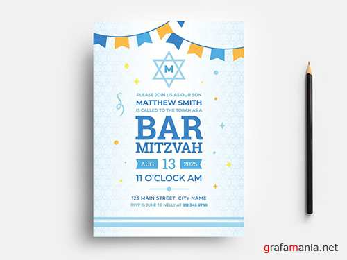 Bar Mitzvah Party Flyer Layout with Bunting & Star of David Pattern 353660943