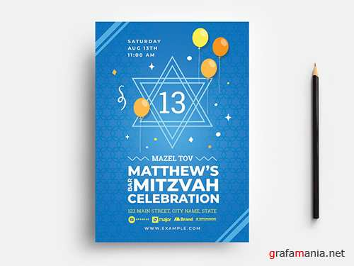 Simple Bar Mitzvah Flyer Layout with Star of David Illustration 353660840