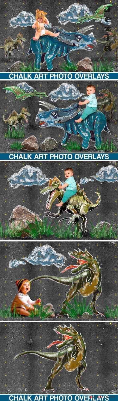 Dinosaurs Chalk art overlays, Dinosaur backdrop - 649347