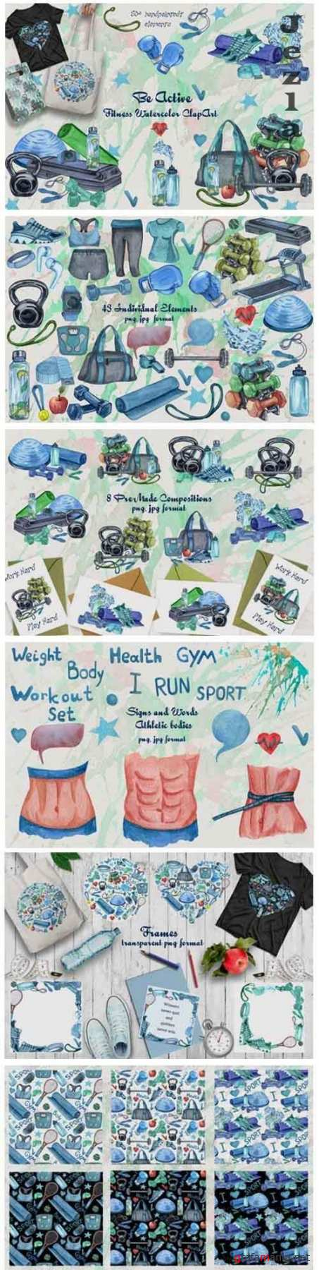 Be Active. Watercolor Fitness Clip Art  - 356599
