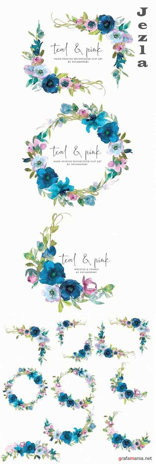Watercolor Teal & Pink Floral Wreath & Frames - 652873