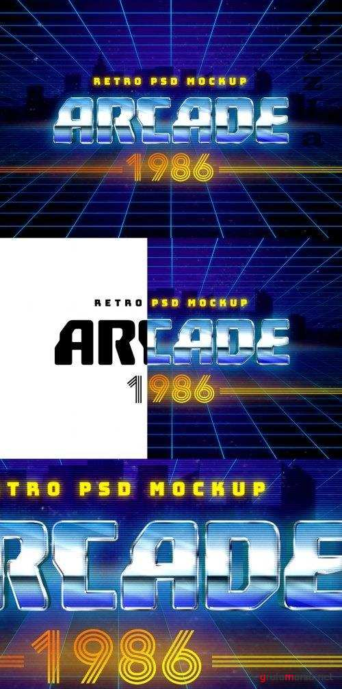 1980s Retro Arcade Mockup Text Effect 355528608