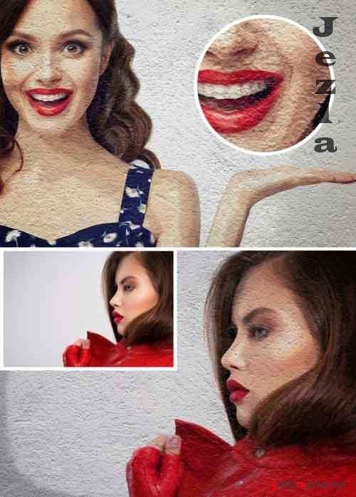 Paint Photo Effect on a Wall Mockup 360273625