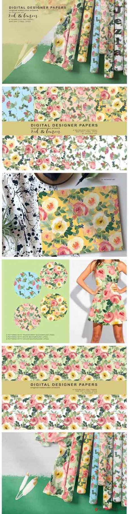 Watercolor Floral Seamless Patterns - 5657196
