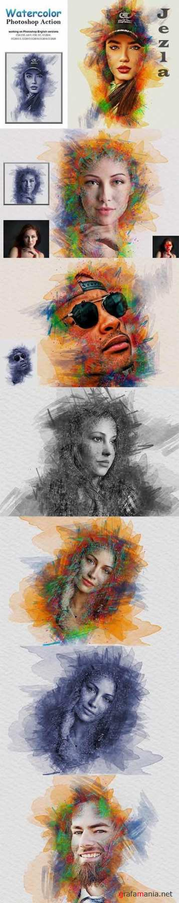CreativeMarket - Watercolor Photoshop Action 5232780