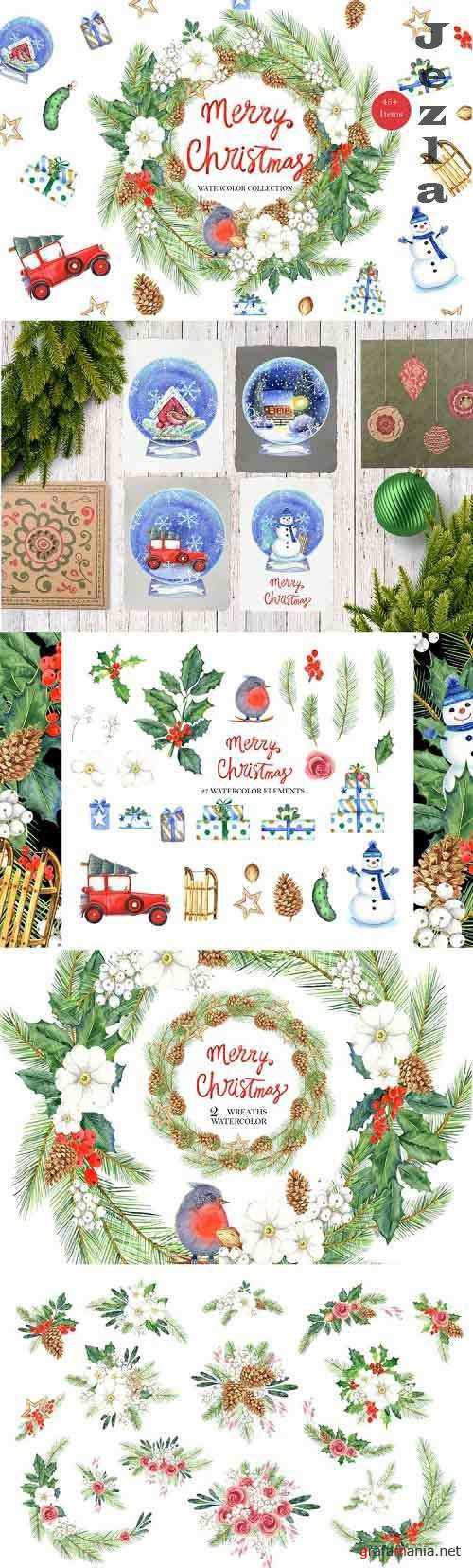 Merry Christmas watercolor collection - 1016722