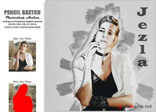 CreativeMarket - Pencil Sketch Photoshop Action Vl-2 5454321