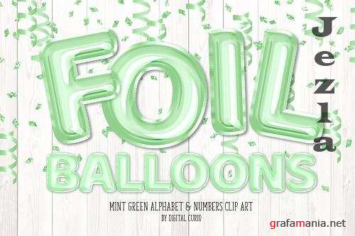 Mint Foil Balloon Alphabet Clipart - 5760706