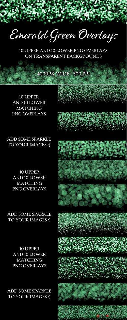 Emerald Green Overlays - 10 Upper and 10 Lower PNG Overlays - 1141633