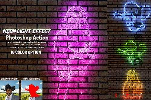 CreativeMarket - Neon Light Effect Photoshop Action 5760163
