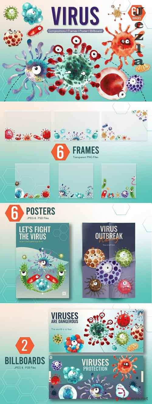 Cute Virus Cartoon Monster Character - 5797172