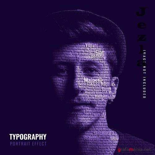 Typography portrait photo effect template