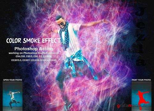 CreativeMarket - Color Smoke Effect Photoshop Action 5471748