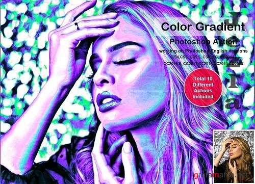 CreativeMarket - Color Gradient Photoshop Action 5478566