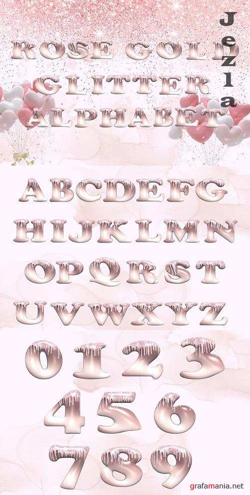 Rose Gold Glitter Alphabet Clipart - 1160322