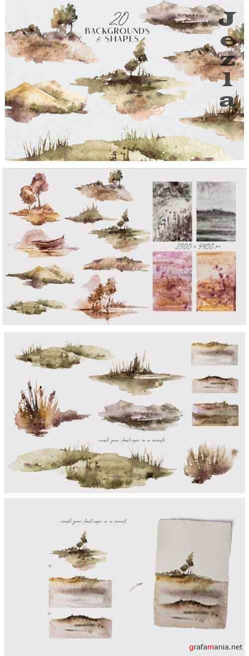Watercolor landscape clipart, forest clipart, tree png file - 1151976