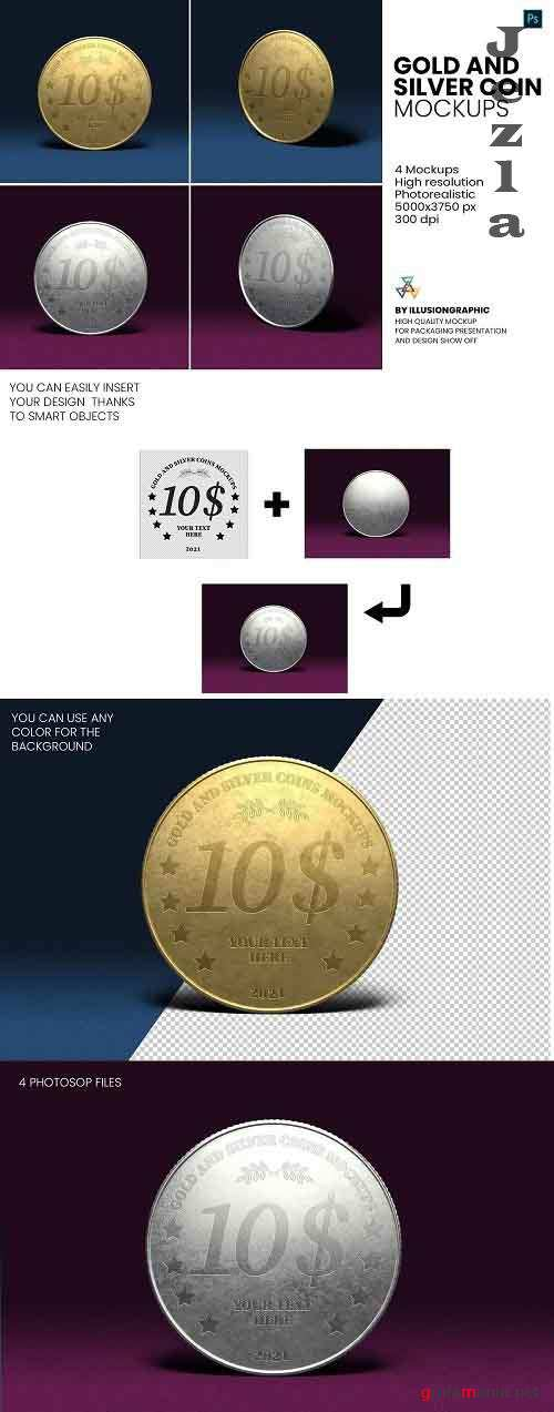 Gold and Silver Coin Mockups - 5816380