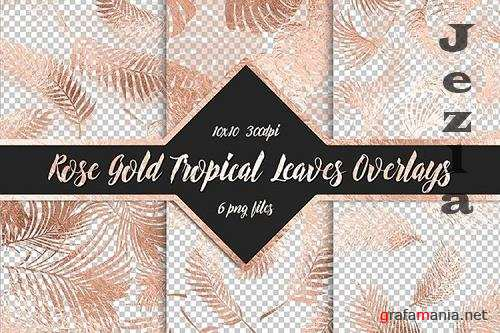 Rose Gold Tropical Leaf Overlays - 1158328