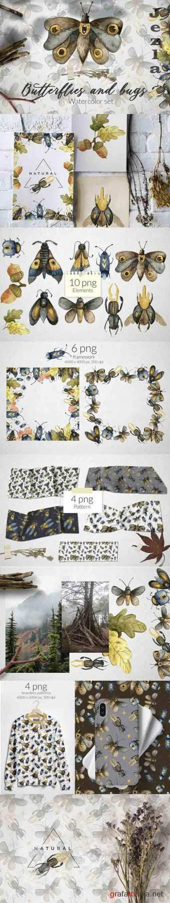 Butterflies and bugs Watercolor set - 5823199