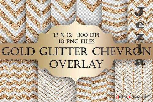 Gold Glitter Chevron Overlays - 1170693